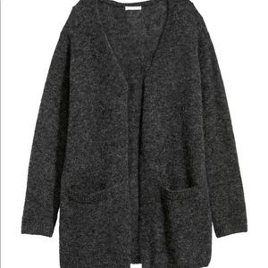 H&M Mohair Blend Gray Open Cardigan Sweater XS